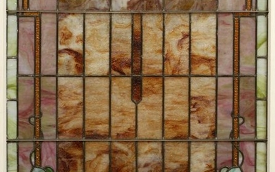 """STAINED AND LEADED GLASS WINDOW H 39"""", W 33"""""""