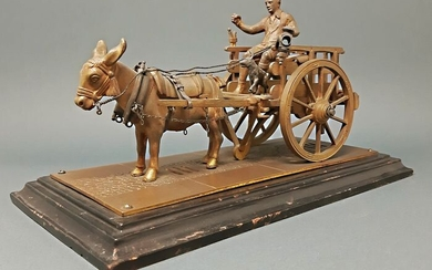 Scuola Napoletana - Sculpture, Cart with donkey - Bronze (patinated) - Mid 20th century