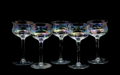 Set of 5 Iridescent Tulip Form Cordial Glasses