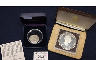 Silver Spanish Reale coin, together with 5th Anniversary of ...