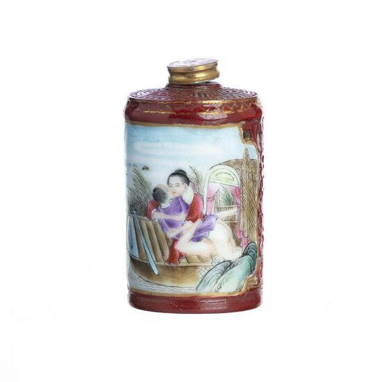 Chinese Double wall porcelain erotic snuff bottle