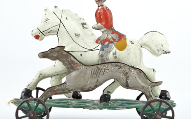 Squire on Horse Back Running with Grey Hound Tin Toy