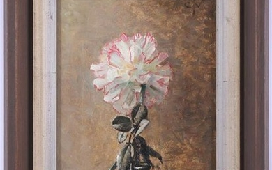 Still life with carnation in glass vase, board 24x16 cm