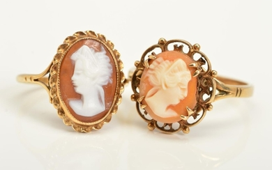 TWO 9CT GOLD CAMEO RINGS, both designed with oval cameos dep...
