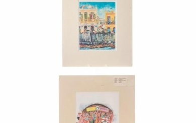 TWO PRINTS BY AGUSTIN GAINZA, SCENES OF LIFE IN CUBA