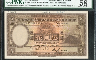 The HongKong and Shanghai Banking Corporation, $5, specimen, 1.7.1937, serial number G000000, c...