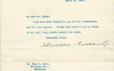 Théodore Roosevelt [like Président of The United States] - Typed signed letter - 1908