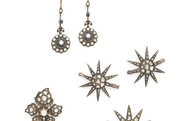 Three antique diamond star brooches, a flower brooch, and a pair of diamond and sapphire ear pendants