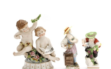 Three porcelain figurines in the form of Allegory on music, Grapes picker and Girl with dresser. Volkstedt Rudolstadt, Ludwigsburg and Berlin. H. (3)