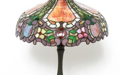 Tiffany Manner Bronze & Leaded Glass Table Lamp