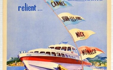 Travel Poster Navite Hydrofoil French Riviera Cannes
