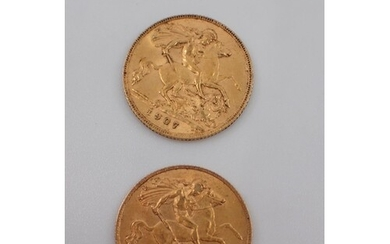 Two gold half sovereigns dated 1907 & 1911