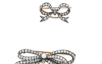 Two late 19th century diamond bow brooches