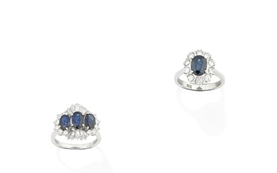 Two sapphire and diamond rings