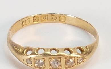 Victorian 18ct gold diamond ring: size P, 2 grams.