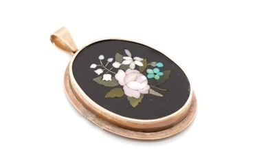 Victorian pietra dura pendant brooch with a rose gilt frame ...