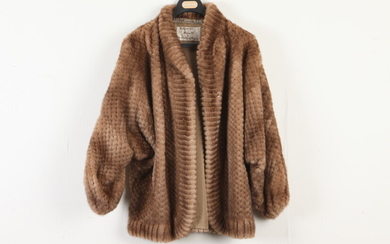 WHISKEY BROWN KNITTED FUR JACKET. DESIGNED BY HILLS OF ASPEN.....