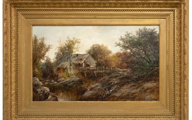 "WILLIAM HENRY HILLIARD, New York/Massachusetts, 1836-1905, A boy fishing by an old mill., Oil on canvas, 18"" x 30"". Framed 31.5"" x 4..."