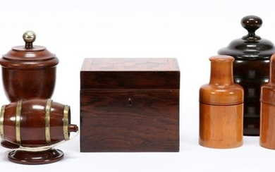 WOOD TABLE ARTICLES & CANISTERS, 9 PCS