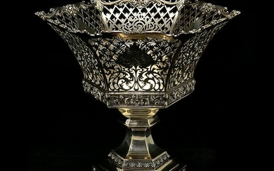Whiting Sterling Silver Hexagonal Basket on Stand.