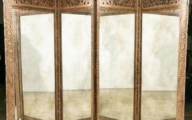 Wood Carved Asian Blossom Mirrored Floor Screen