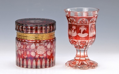 lid box and goblet, Bohemia, 19. and...