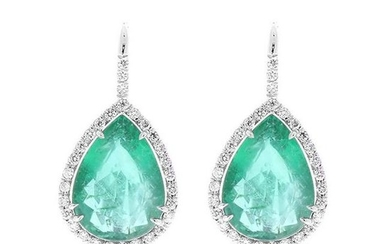 11.18 Carat Total Pear Shaped Emerald and Diamond