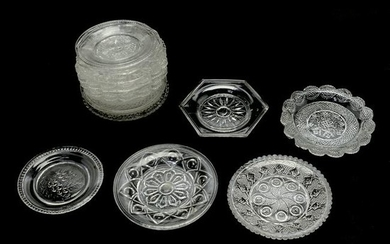 14 Lacy and Non-Flint EAPG Cup Plates, Including Lee /