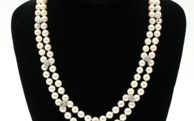 14K Gold & Diamonds Double Strand Pearls Necklace