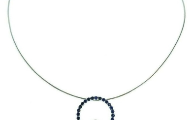 14K White Gold Neckwire with Sapphire and Diamond