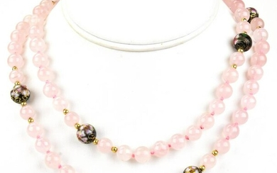 14kt Gold Rose Quartz & Cloisonne Enamel Necklace