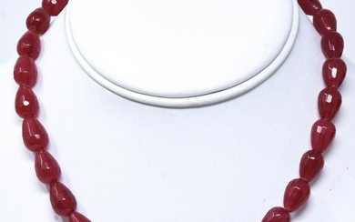 14kt Yellow Gold & 185 Carat Ruby Bead Necklace