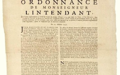 """1737. BRITAIN. REINDEER SAILS PAINTINGS (35). """"Ordinance of Monseigneur the Intendant (Jean Baptiste Élie CAMUS DE PONTCARRÉ, Chevalier, Seigneur de VIARME). Which carries in accordance with the Decree of the Council of February 1, 1724, that all the..."""