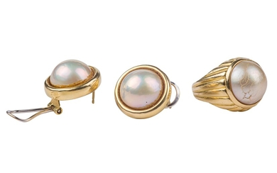 18 kt 750 yellow gold set with mabe pearls