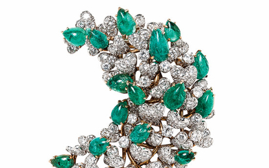 18kt Gold, Platinum, Emerald, and Diamond Brooch, David Webb