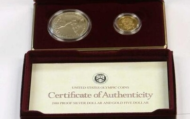 1988 SILVER DOLLAR & GOLD FIVE DOLLAR PROOF SET