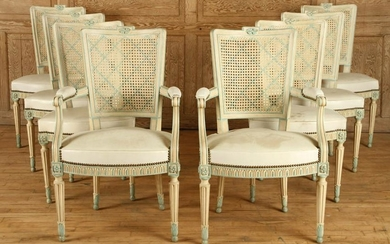 SET 8 PAINTED FRENCH DINING CHAIRS CIRCA 1940