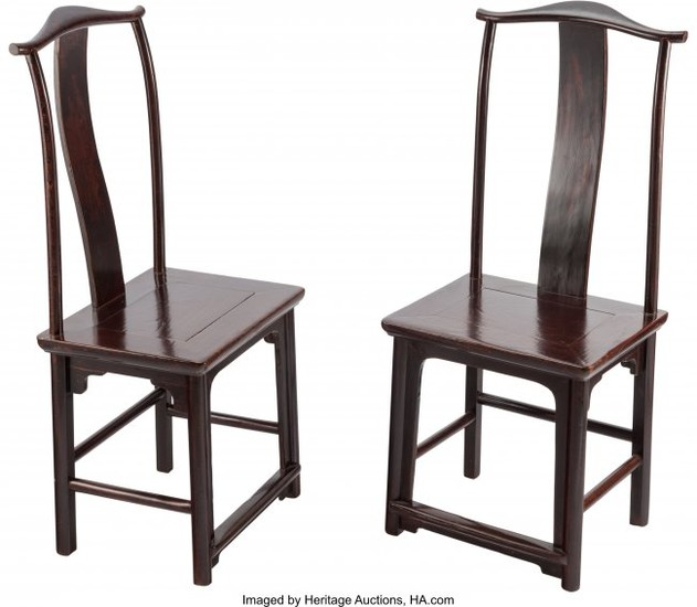 28164: A Pair of Chinese Elmwood Side Chairs, 19th cent