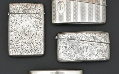 4 English Sterling Silver Calling Card Cases.