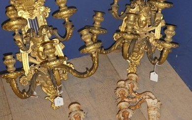 4 Wall sconces, 2 decorated in gilt with bearded man & femal...