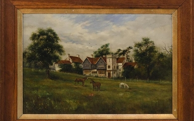 "B. HIBBS, England, Early 20th Century, Horses grazing in front of a country manor., Oil on canvas, 14"" x 21"". Framed 19.25"" x 27.5""."