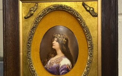 An oak framed and mounted 19th century French hand painted porcelain panel signed A. Leroux, framed size 27 x 32cm panel size 12cm.