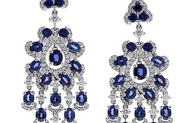 6.71 Carat Oval Blue Sapphire and Diamond Earrings in