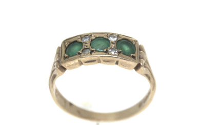 Victorian Style 9k Yellow Gold Emerald and Diamond Ring.