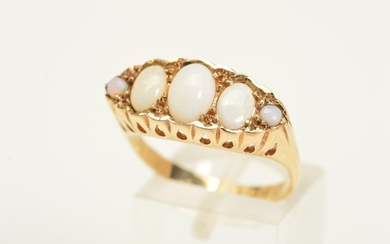 A 9CT GOLD FIVE STONE OPAL RING, designed as a row of five g...