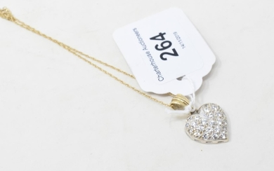 A 9ct gold and diamond heart shaped pendant, on a chain