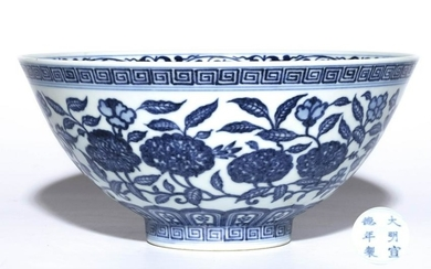 A BLUE AND WHITE FLORAL BOWL, XUANDE MARK