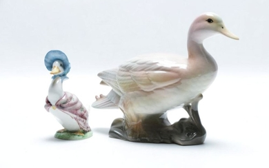 A Beswick Beatrix Potter Duck together with a signed Australian Studio Pottery Duck (signed to base)