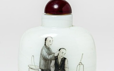 A CHINESE WHITE-GLASS(?) SNUFF-BOTTLE, probably