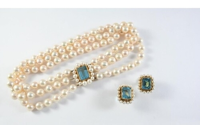 A CULTURED PEARL AND BLUE TOPAZ THREE ROW CHOKER the uniform...